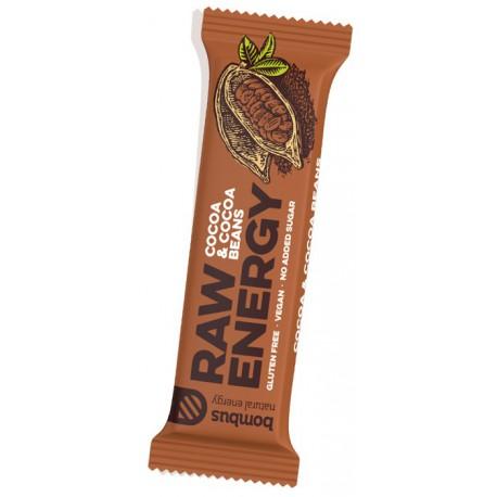 Tyčinka Bombus Raw Energy s příchutí Kakao a kakaové boby