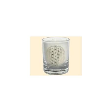Mini čakrová svíčka  - bílá